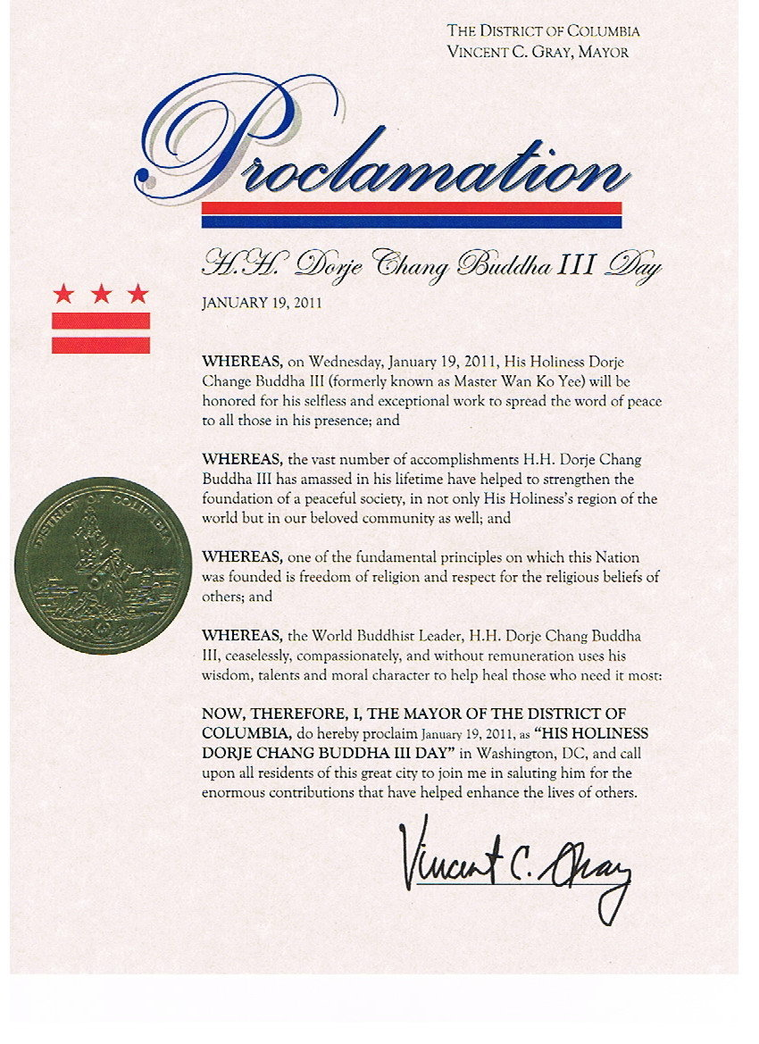 Proclamation from Mayor of the District of Columbia declaring January 19 to be H.H. Dorje Chang Buddha III Day