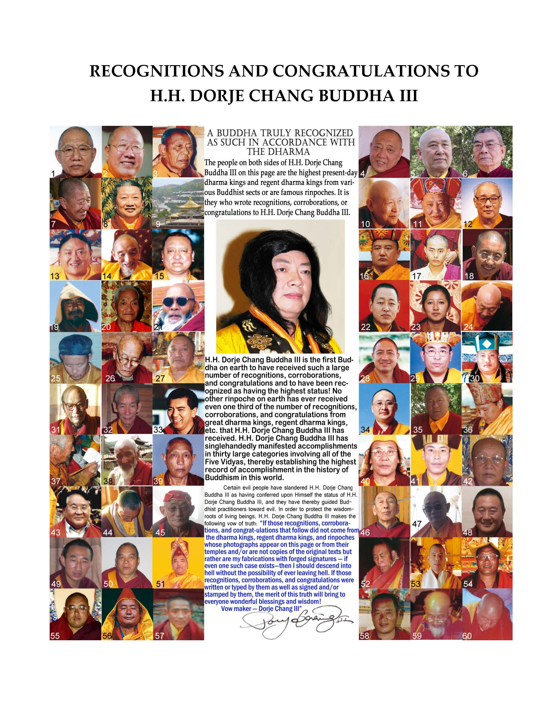 Recognitions & Congratulations to H.H. Dorje Chang Buddha III